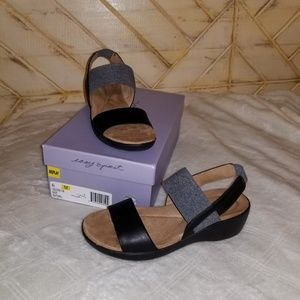 EASY SPIRIT KAFFI Leather/Fab Sandals EUC Sz 6